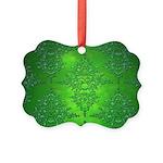 Bright Green Damask Pattern Ornament