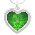 Bright Green Damask Pattern Necklaces