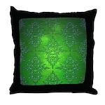Bright Green Damask Pattern Throw Pillow