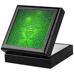 Bright Green Damask Pattern Keepsake Box