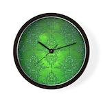 Bright Green Damask Pattern Wall Clock