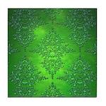 Bright Green Damask Pattern Tile Coaster