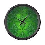 Bright Green Damask Pattern Large Wall Clock