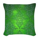 Bright Green Damask Pattern Woven Throw Pillow