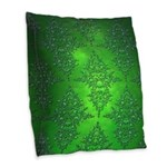 Bright Green Damask Pattern Burlap Throw Pillow