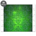 Bright Green Damask Pattern Puzzle