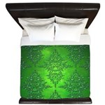 Bright Green Damask Pattern King Duvet
