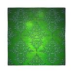 Bright Green Damask Pattern Queen Duvet
