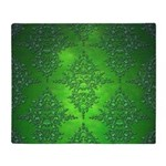 Bright Green Damask Pattern Throw Blanket