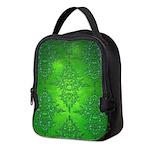 Bright Green Damask Pattern Neoprene Lunch Bag