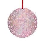 Vintage Pink Aurora Borealis Damask pattern Orname