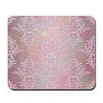 Vintage Pink Aurora Borealis Damask pattern Mousep