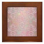 Vintage Pink Aurora Borealis Damask pattern Framed