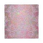 Vintage Pink Aurora Borealis Damask pattern Queen