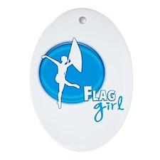Flag Girl Oval Ornament