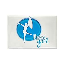 Flag Girl Rectangle Magnet