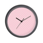 Pink and White Floral Damask Wall Clock