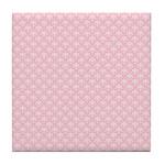 Pink and White Floral Damask Tile Coaster