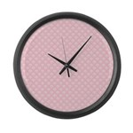 Pink and White Floral Damask Large Wall Clock