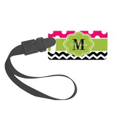 Pink Green Chevron Personalized Luggage Tag