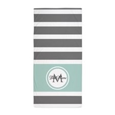 Gray and Mint Stripes Custom Monogram Beach Towel