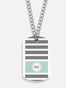 Gray and Mint Stripes Custom Monogram Dog Tags