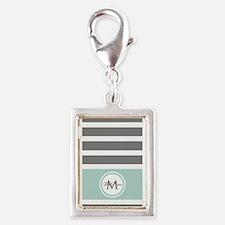 Gray and Mint Stripes Custom Monogram Charms
