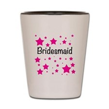 Bridesmaid with pink stars Shot Glass