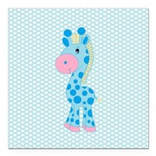 Blue Giraffe on Blue and White Hearts Square Car M