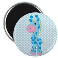 Blue Giraffe on Blue and White Hearts Magnets