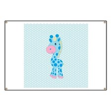 Blue Giraffe on Blue and White Hearts Banner