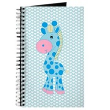 Blue Giraffe on Blue and White Hearts Journal