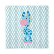 Blue Giraffe on Blue and White Hearts Queen Duvet
