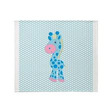 Blue Giraffe on Blue and White Hearts Throw Blanke