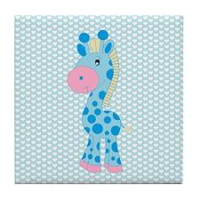 Blue Giraffe on Blue and White Hearts Tile Coaster