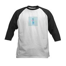Blue Giraffe on Blue and White Hearts Baseball Jer