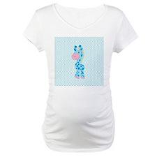 Blue Giraffe on Blue and White Hearts Shirt