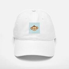 Cute Monkey on Blue and White Hearts Baseball Baseball Baseball Cap