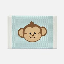 Cute Monkey on Blue and White Hearts Magnets