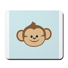Cute Monkey on Blue and White Hearts Mousepad