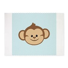 Cute Monkey on Blue and White Hearts 5'x7'Area Rug