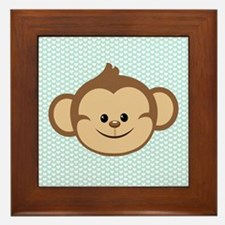 Cute Monkey on Blue and White Hearts Framed Tile