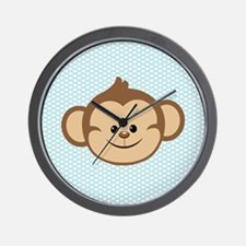 Cute Monkey on Blue and White Hearts Wall Clock