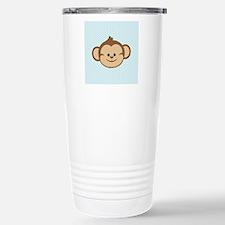 Cute Monkey on Blue and White Hearts Travel Mug