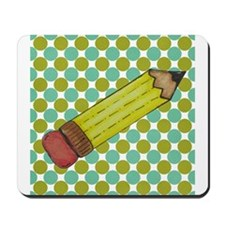 Pencil on Green and Blue Dot Background Mousepad