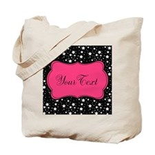 Personalizable Pink and Black Stars Tote Bag