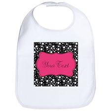 Personalizable Pink and Black Stars Bib