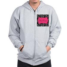 Personalizable Pink and Black Stars Zip Hoodie
