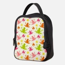 Cute Colorful Frogs Pattern Neoprene Lunch Bag