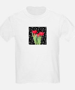 Red Tulips on Black and White Star Background T-Sh